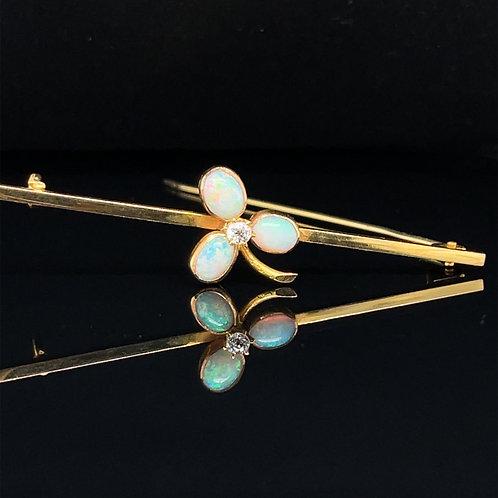 Opal and Diamond Edwardian Brooch 18ct Gold