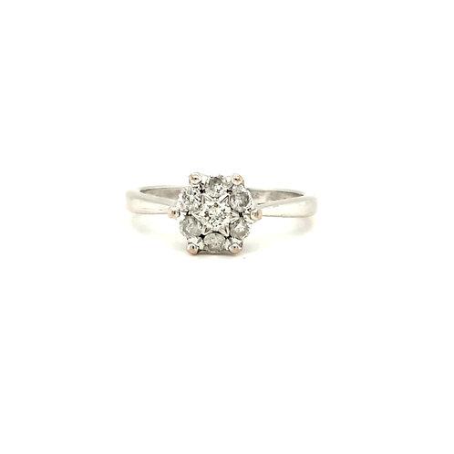 Starburst Diamond Cluster Ring 9ct White Gold