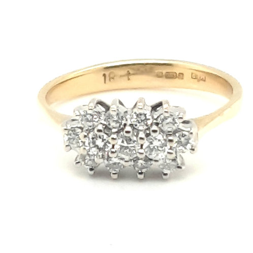 Three Row Diamond Cluster Ring 18ct Gold