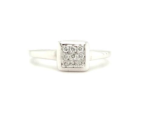 Square Multi Diamond Cluster Ring 18ct Gold