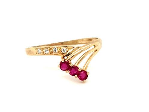 Ruby and Diamond Starburst Ring 14ct Gold