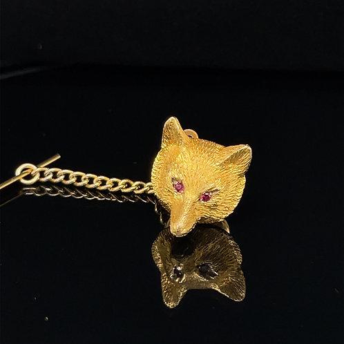 Fox Mask Tie Pin 9ct Yellow Gold