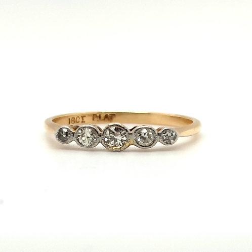 Art Deco Diamond Eternity Ring 18ct Yellow Gold & Platinum