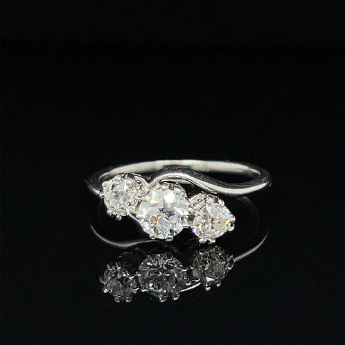 Platinum Trilogy Diamond Twist Ring 0.75 Carat
