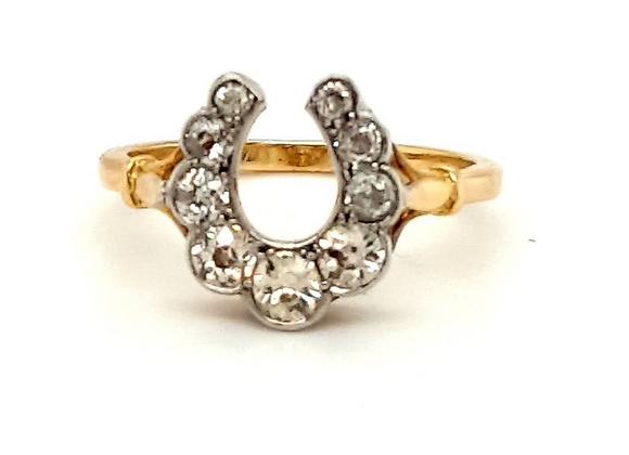 18CT YELLOW & WHITE GOLD VINTAGE DIAMOND LUCKY HORSESHOE RING Size N US Size 7