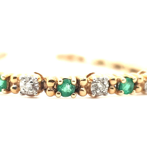 Emerald & Diamond Bracelet 14ct Gold