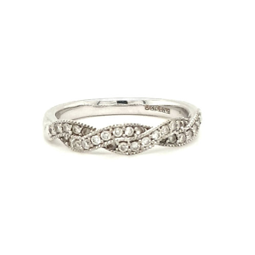 A Twisted Diamond Ring 18ct White Gold