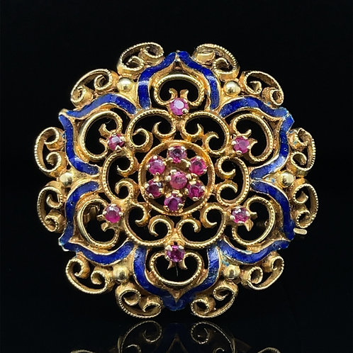 Ruby and Enamel Brooch 18ct Gold