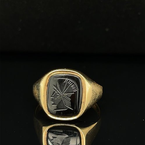 Onyx Carved Centurian Ring 9ct  Yellow Gold