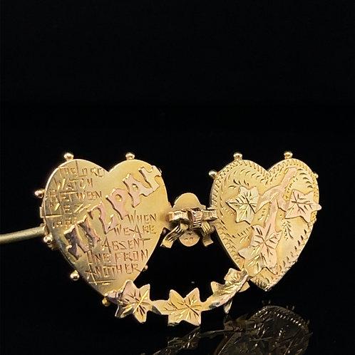 Antique Mizpah Brooch 9ct Yellow Gold