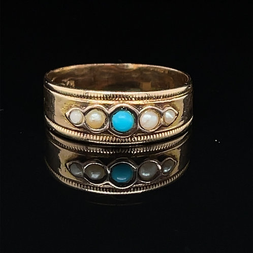 Victorian Turquoise and Pearl Ring Chester 1898