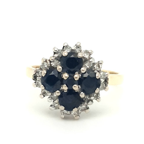 Sapphire and Diamond Cluster Ring 18ct Gold