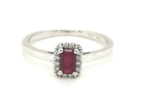 Ruby and Diamond Halo Ring 18ct White Gold
