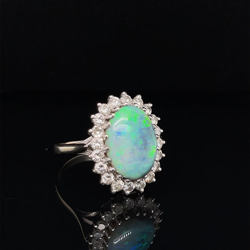 A Magnificent Black Opal Diamond Cluster Ring 18ct Gold