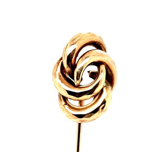 A Large Knot Stick Pin 9ct Yellow Gold