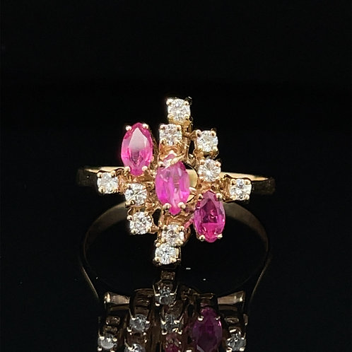 Bespoke  Ruby and Diamond Cluster Ring 18ct Gold