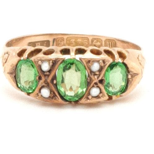 Antique Green Tourmaline & Pearl 9ct Ring Hallmarked Birmingham 1911