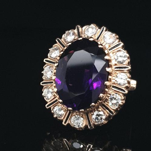 Statement Amethyst & Diamond Ring 14ct RoseGold