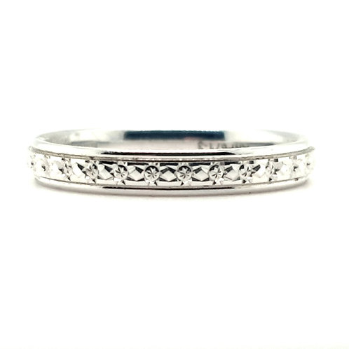Fancy Patterned  Ring 18ct White Gold