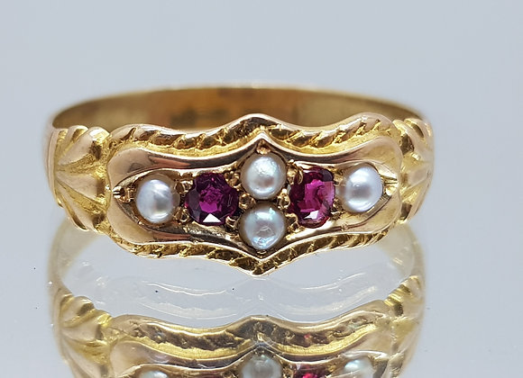 GENUINE ANTIQUE 18CT 18K RUBY & PEARL RING SET IN YELLOW GOLD FINGER SIZE T 1/2