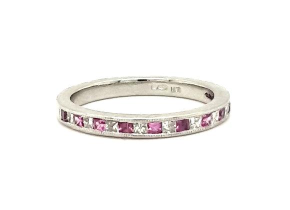 Pink Sapphire and Diamond Ring Platinum