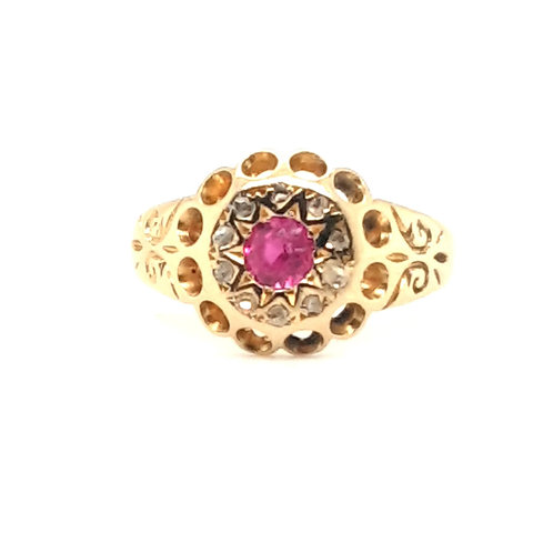 18ct YELLOW GOLD ANTIQUE VIBRANT RUBY & DIAMOND CLUSTER RING CHESTER HALLMARK