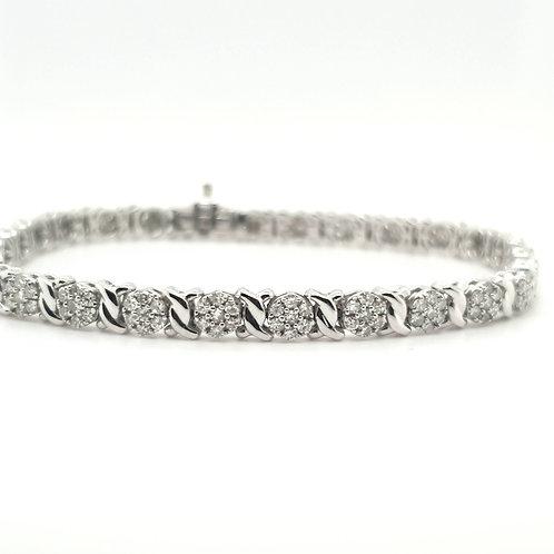 Multi Cluster Diamond Bracelet 9ct White Gold