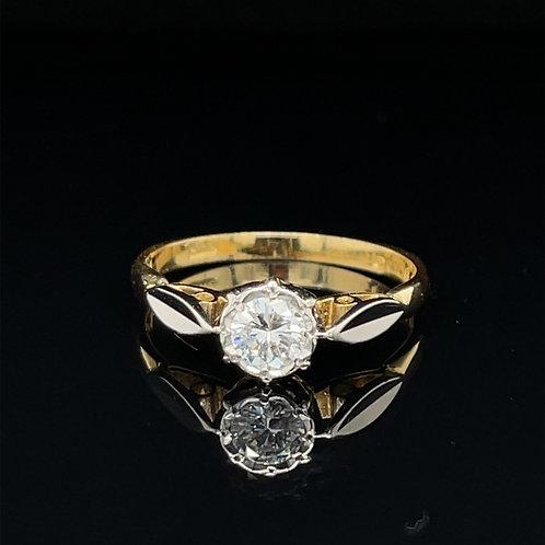 Vintage Diamond Solitaire 18ct Yellow & Platinum