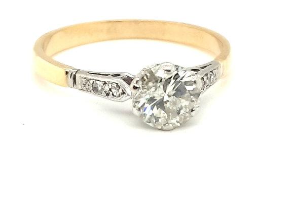 18ct Yellow & White Gold Vintage 1.01ct Diamond Ring