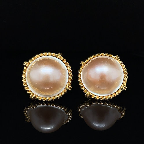 Mabe Pearl 1980s Statement Earrings 18ct Yellow Gold