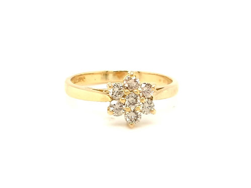 Diamond Cluster Ring 18ct Yellow Gold