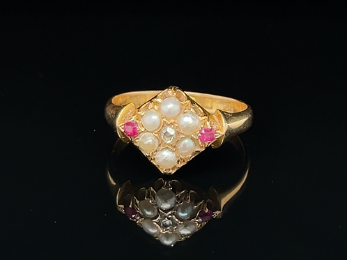 Victorian Ruby, Pearl & Diamond Ring 18ct Gold