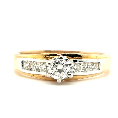 Modern Diamond Solitaire Ring 18ct Gold