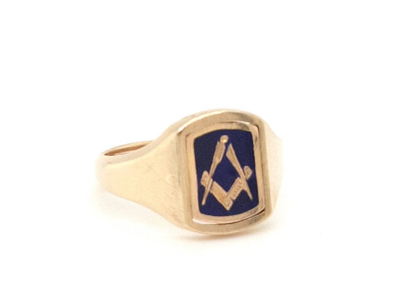 Enamelled Masonic Swivel Ring 9ct Gold