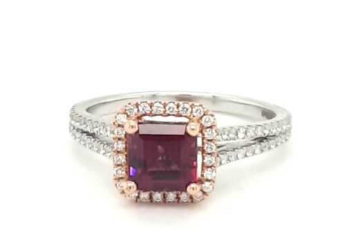 Tourmaline and Diamond Cluster Ring 18ct Gold