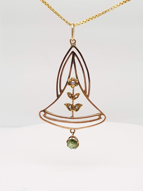 Art Nouveau Peridot & Pearl Lavalier