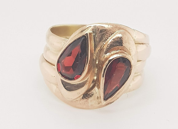 Large Double Headed Garnet Serpent Ring 9ct Rose Gold