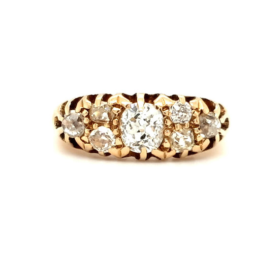 Antique Seven Stone Old Cut Diamond Ring 18ct Yellow Gold