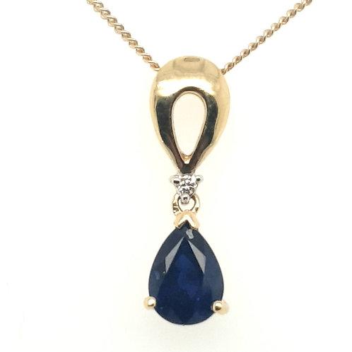 Sapphire and Diamond Pendant 18ct Gold