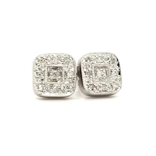 Grain Set Diamond Earrings 9ct Gold