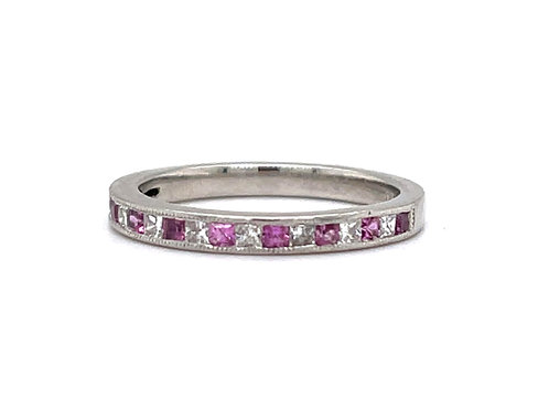 Pink Sapphire and Diamond Ring in Platinum