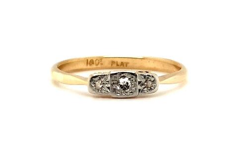 Edwardian Diamond Trilogy Ring 18ct-Platinum
