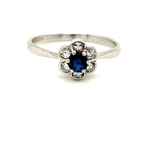Sapphire and Diamond Cluster 18ct Gold