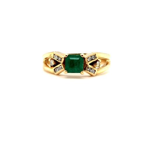 Princess Cut Emerald and Diamond Ring 18ct gold