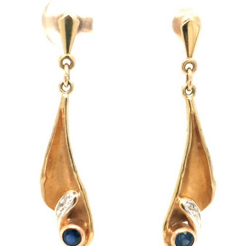 Sapphire and Diamond Earrings 9ct Yellow Gold