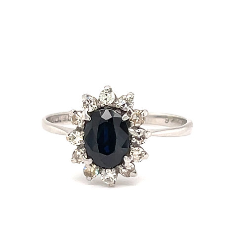 Sapphire and Diamond Cluster Ring 18ct White Gold