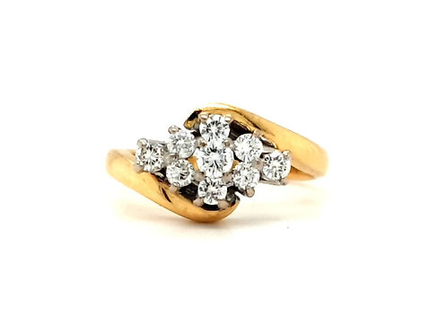 Boat Shape Twist Cluster Ring 18ct Gold
