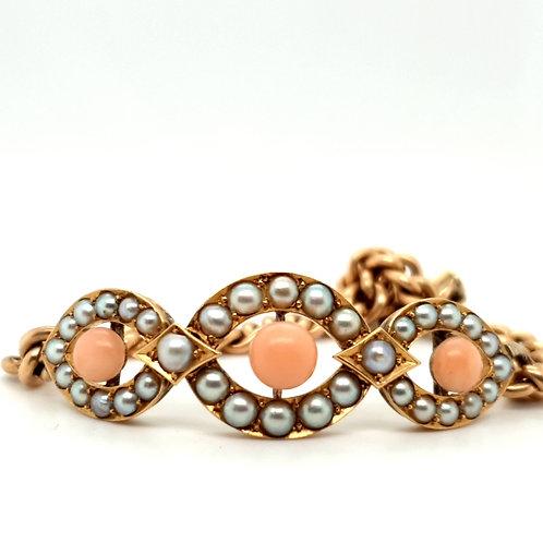 Coral and Pearl 15ct Vintage Bracelet