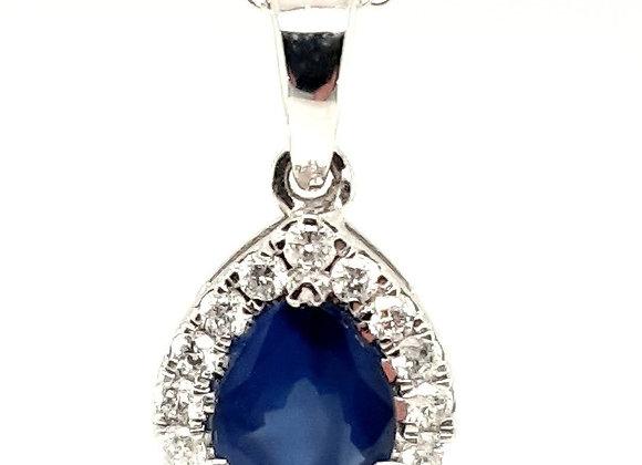 Sapphire and Diamond Hallo Pendant 18ct Gold