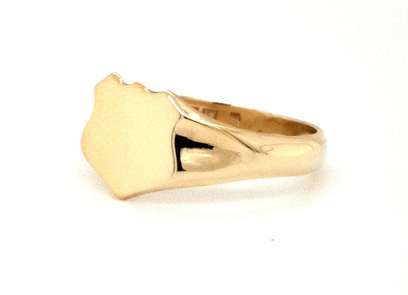 Shield Shape Signet Ring set in 9ct Yellow Gold